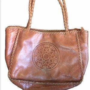 Vintage Wabags Leather Brown Lotus Boho Bag